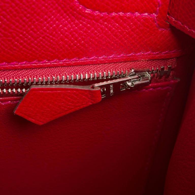 Hermes Rouge Casaque Epsom Sellier Kelly 28cm Palladium Hardware For Sale 3