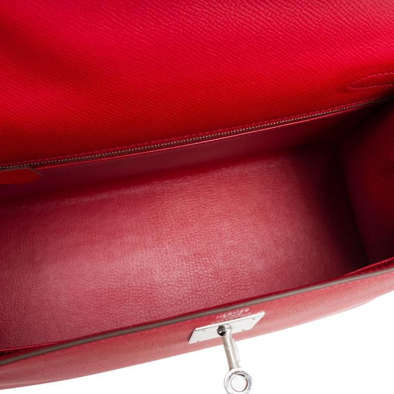 Hermes Rouge Casaque Epsom Sellier Kelly 28cm Palladium Hardware For Sale 2