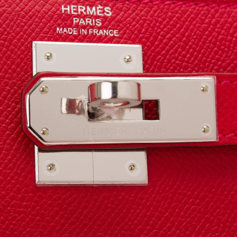 Hermes Rouge Casaque Epsom Sellier Kelly 28cm Palladium Hardware For Sale 1
