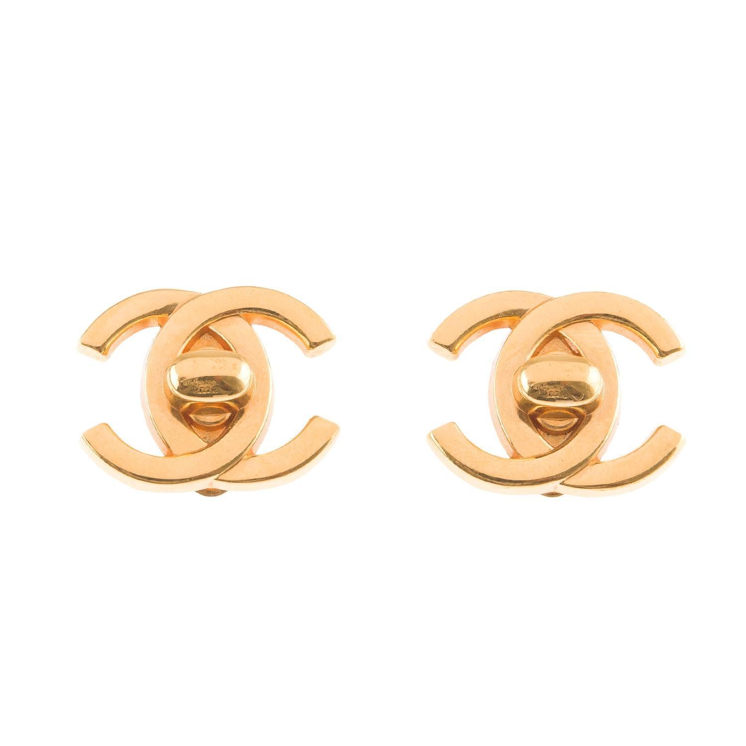 chanel vintage cc logo turnlock earrings for sale at 1stdibs