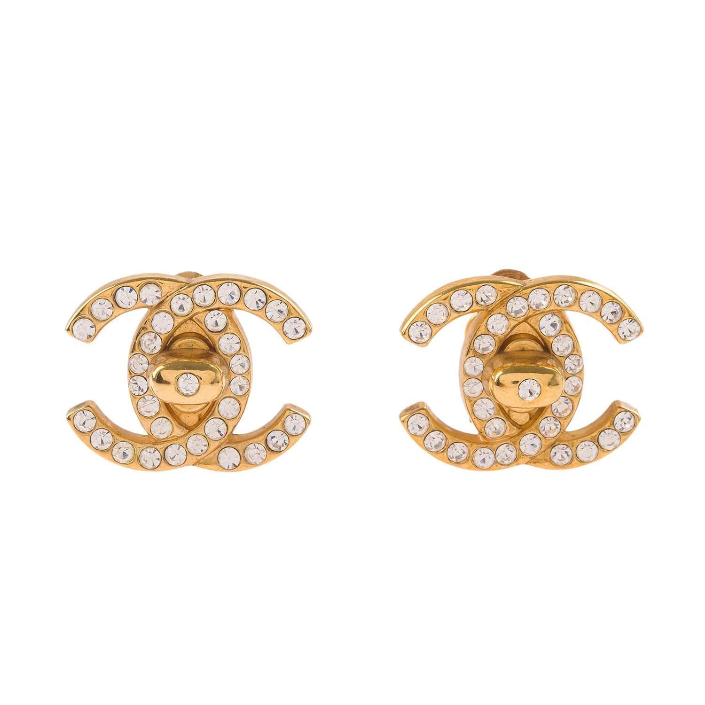 chanel vintage large rhinestone cc logo turnlock earrings