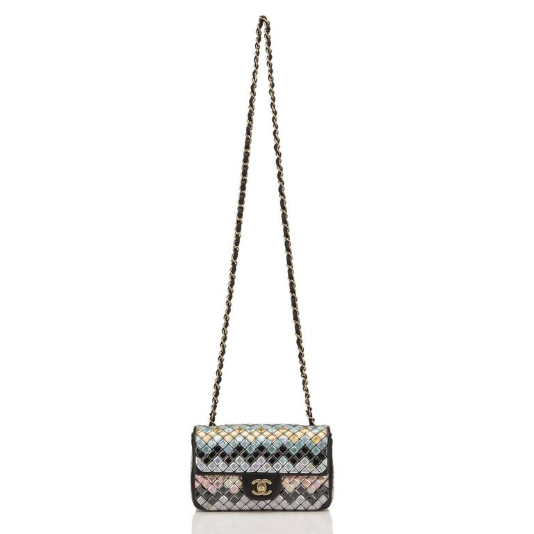 Chanel Black Mosaic Embroidered Small Flap Bag NEW For Sale 2