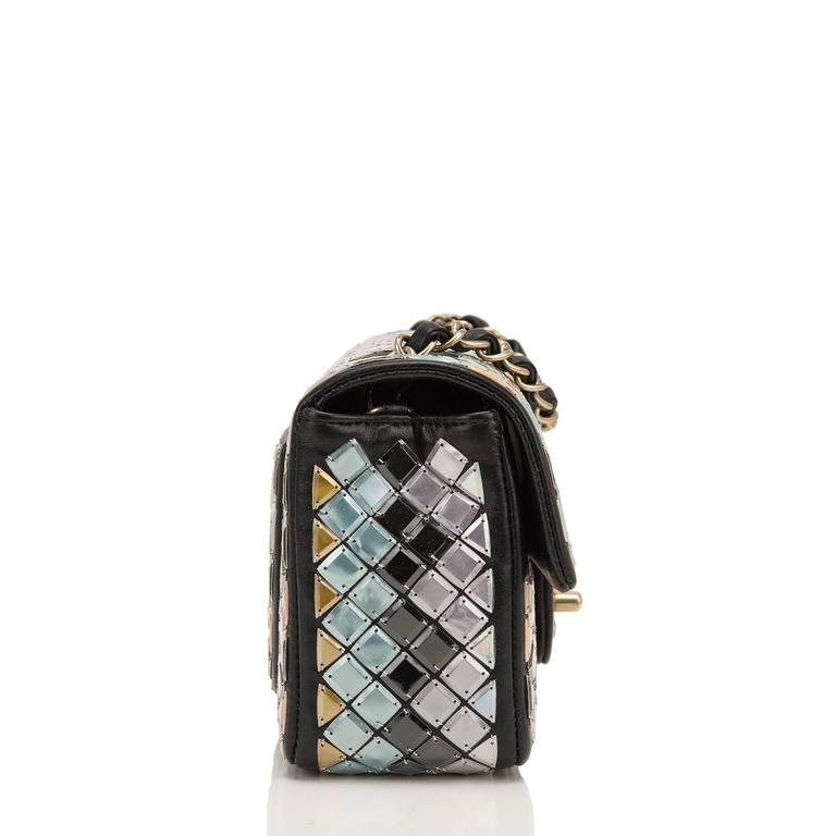 Chanel Black Mosaic Embroidered Small Flap Bag NEW In New Never_worn Condition For Sale In New York, NY
