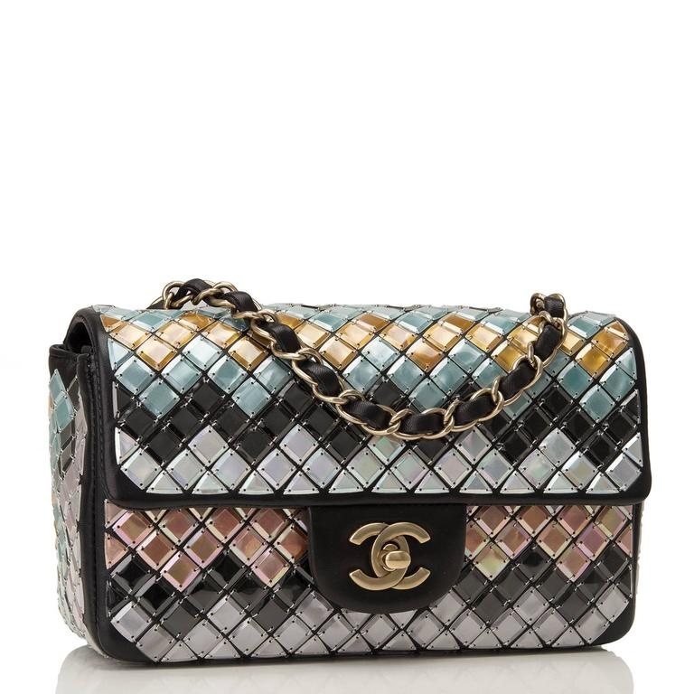Chanel Mosaic Embroideried Small Flap bag of black lambskin leather with antique gold tone hardware.  This collectible bag from the Brassiere Gabrielle Collection features multicolor mosaic tiles embroidered on the bag by Lesage in an allover