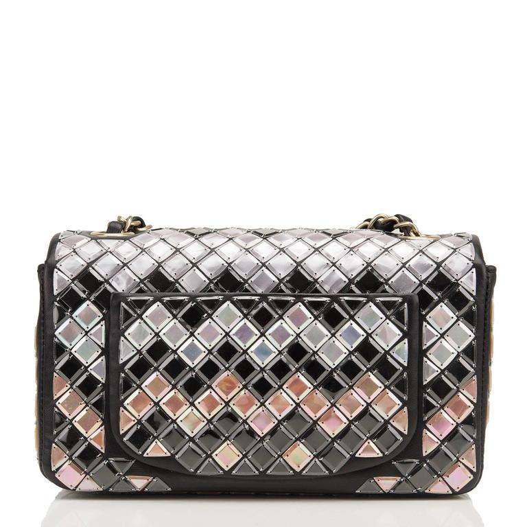 Women's Chanel Black Mosaic Embroidered Small Flap Bag NEW For Sale