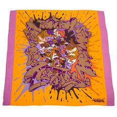 "Hermes ""Graff"" (Graffiti) Cashmere and Silk Shawl 140cm"