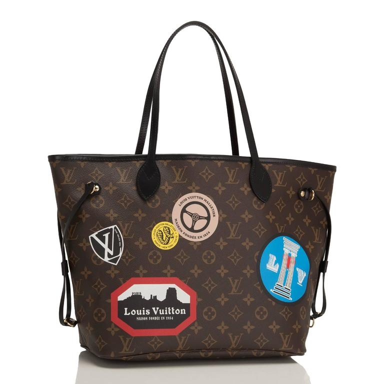 """Louis Vuitton Monogram """"World Tour"""" Neverfull MM tote of coated canvas with black leather trim, polished brass hardware and removable pouch.  This limited edition tote features printed stamps over the traditional monogram canvas, black"""