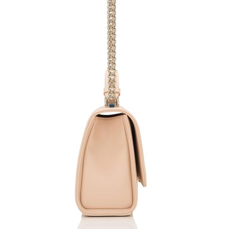 Orange Chanel Light Beige Medium Label Click Flap Bag NEW For Sale