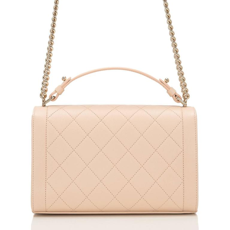 Chanel Light Beige Medium Label Click Flap Bag NEW In New Never_worn Condition For Sale In New York, NY