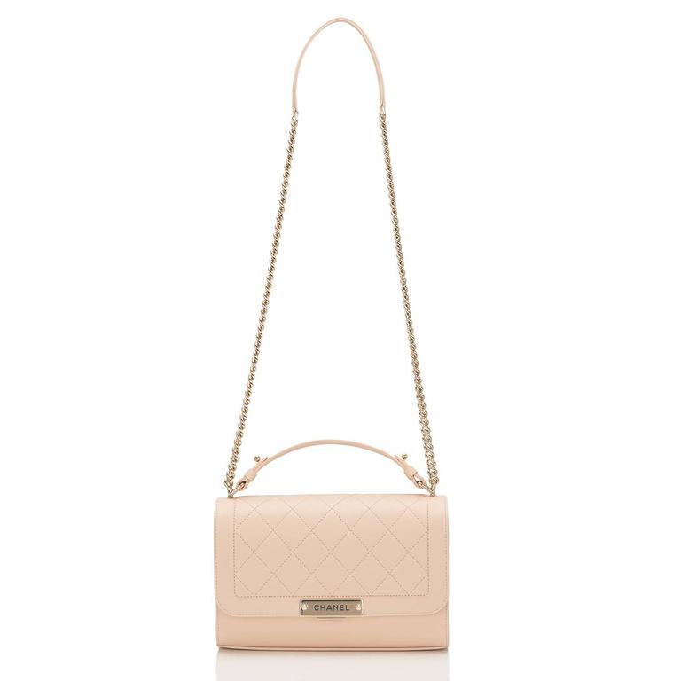 Chanel Light Beige Medium Label Click Flap Bag NEW For Sale 1