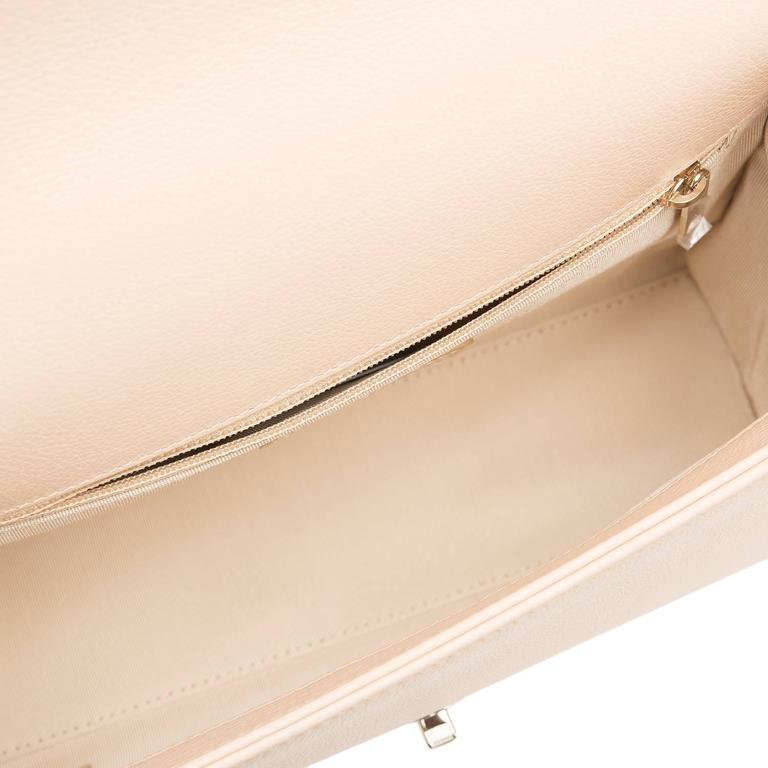 Chanel Light Beige Medium Label Click Flap Bag NEW For Sale 2