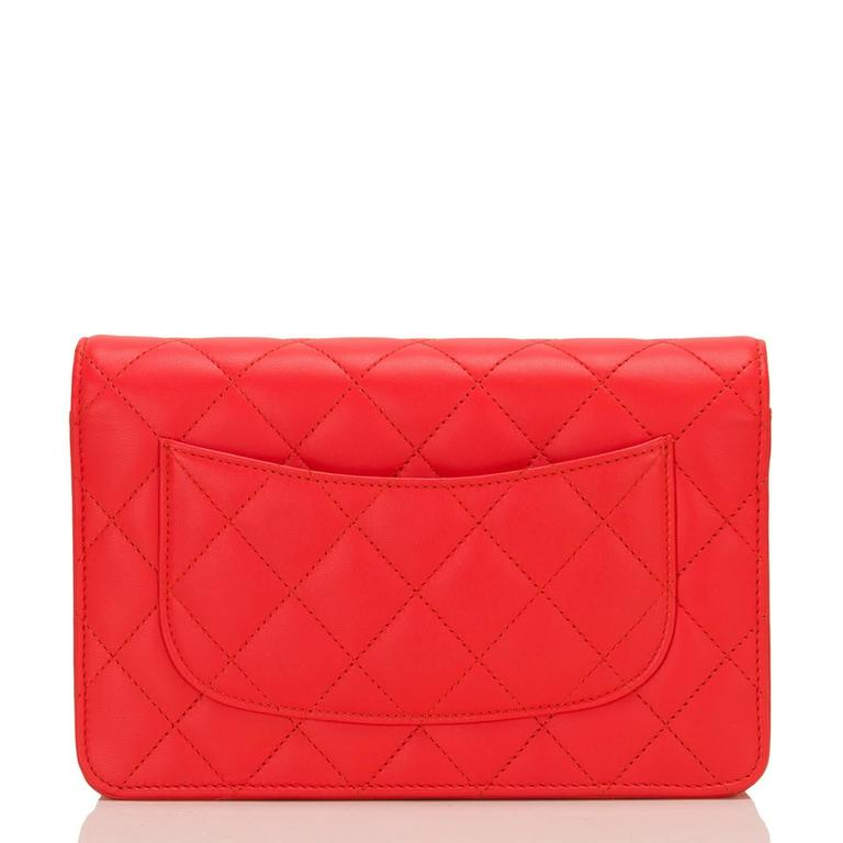 Women's Chanel Red Quilted Lambskin Classic Wallet On Chain (WOC) For Sale