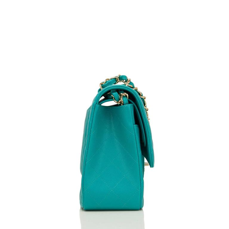 Blue Chanel Turquoise Quilted Caviar Jumbo Classic Double Flap Bag For Sale