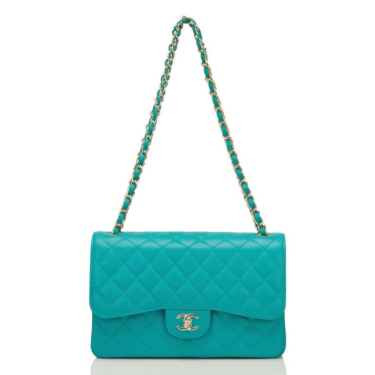Chanel Turquoise Quilted Caviar Jumbo Classic Double Flap Bag For Sale 1