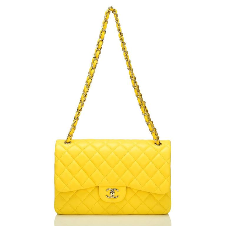 Chanel Yellow Quilted Lambskin Jumbo Classic Double Flap Bag For Sale 2