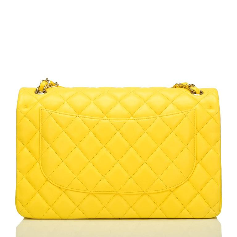 Women's Chanel Yellow Quilted Lambskin Jumbo Classic Double Flap Bag For Sale