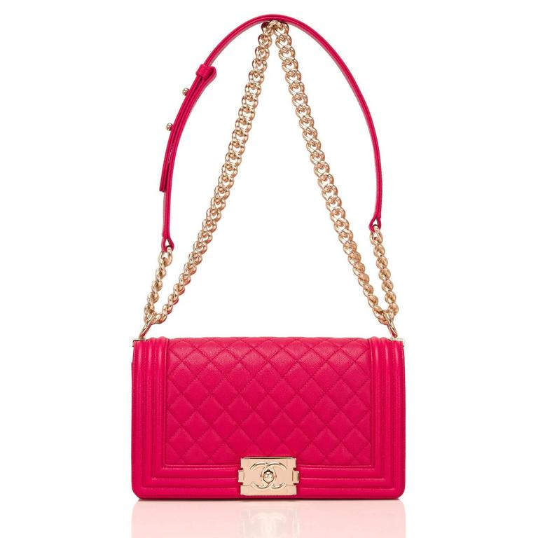 Chanel Fuchsia Caviar Medium Boy Bag For Sale 1