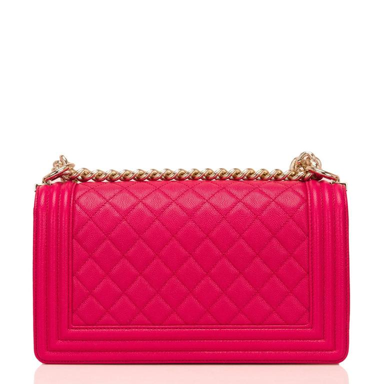 Chanel Fuchsia Caviar Medium Boy Bag In New Never_worn Condition For Sale In New York, NY