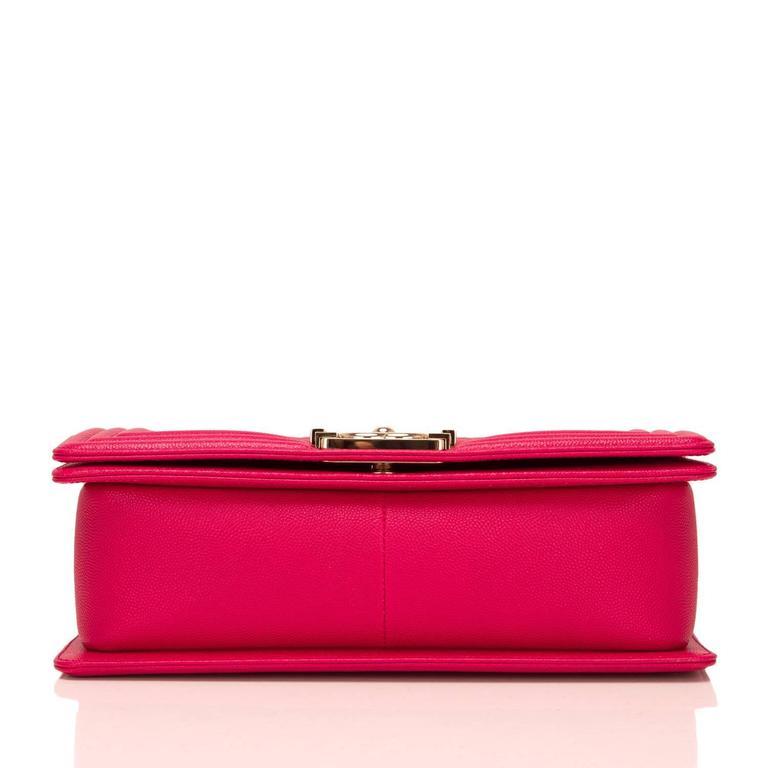 Women's Chanel Fuchsia Caviar Medium Boy Bag For Sale