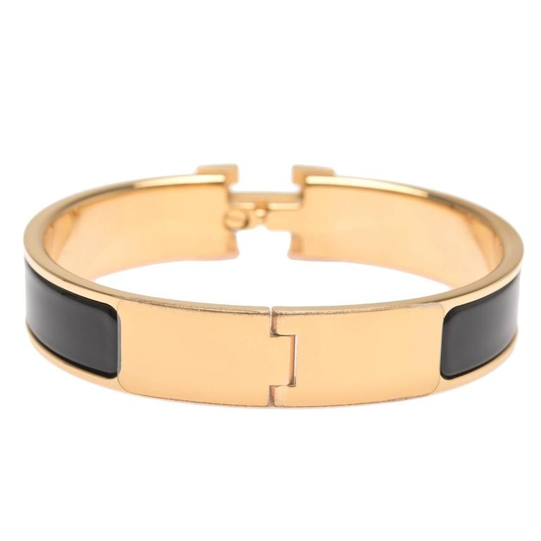 Hermes black clic clac h narrow enamel bracelet pm for for Housse clic clac new york