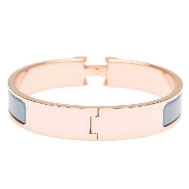Hermes gris orage clic clac h narrow enamel bracelet gm at for Housse clic clac new york