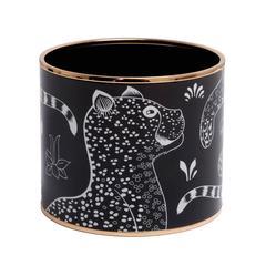 """Hermes """"Les Leopards"""" Printed Enamel Mega Bracelet GM (70)"""