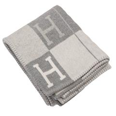 Hermes New Classic Avalon Ecru and Light Grey Blanket