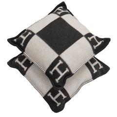 "Hermes ""Avalon"" Ecru and Dark Grey Signature H Cushion PM Set of two"