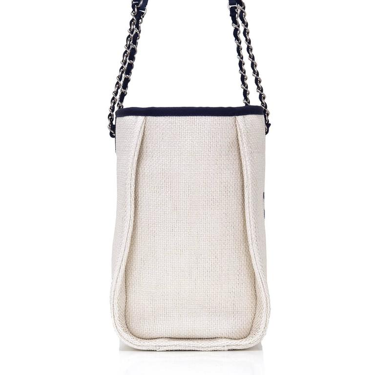 Chanel Small White Deauville Canvas Tote In New Never_worn Condition For Sale In New York, NY