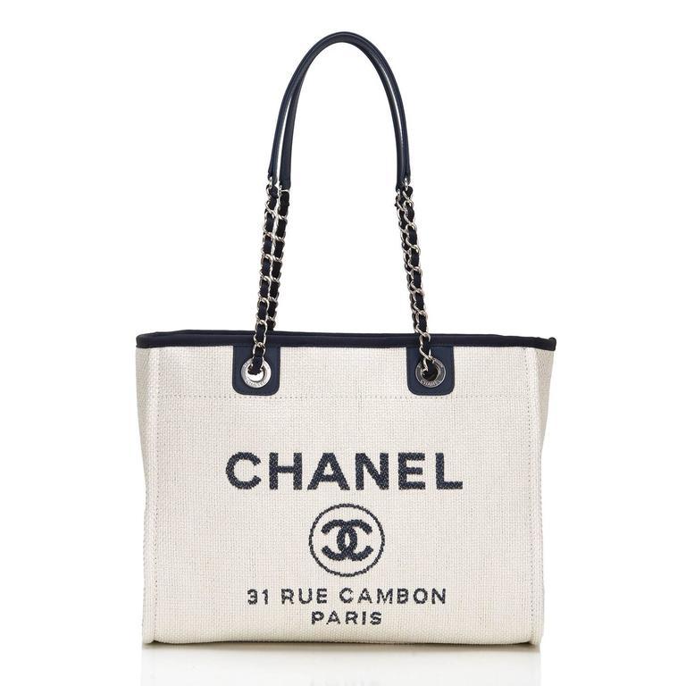 Chanel Small White Deauville Canvas Tote For Sale 2