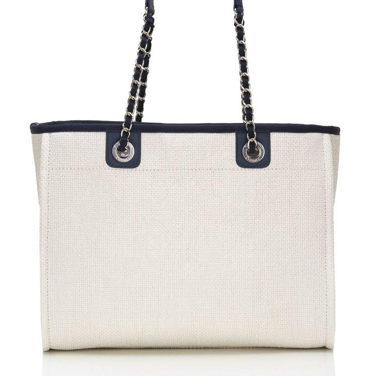 Women's Chanel Small White Deauville Canvas Tote For Sale