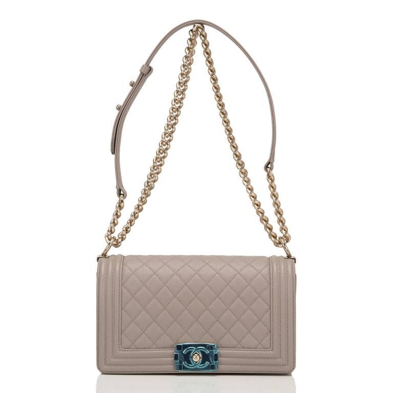 Chanel Taupe (Dark Beige) Caviar Medium Boy Bag For Sale 1