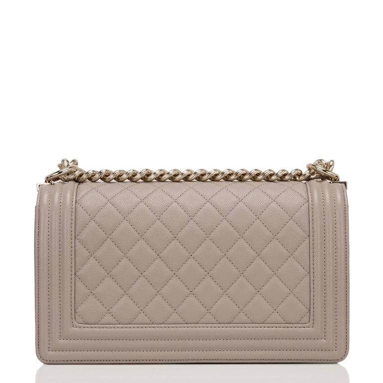 Chanel Taupe (Dark Beige) Caviar Medium Boy Bag In New never worn Condition For Sale In New York, NY