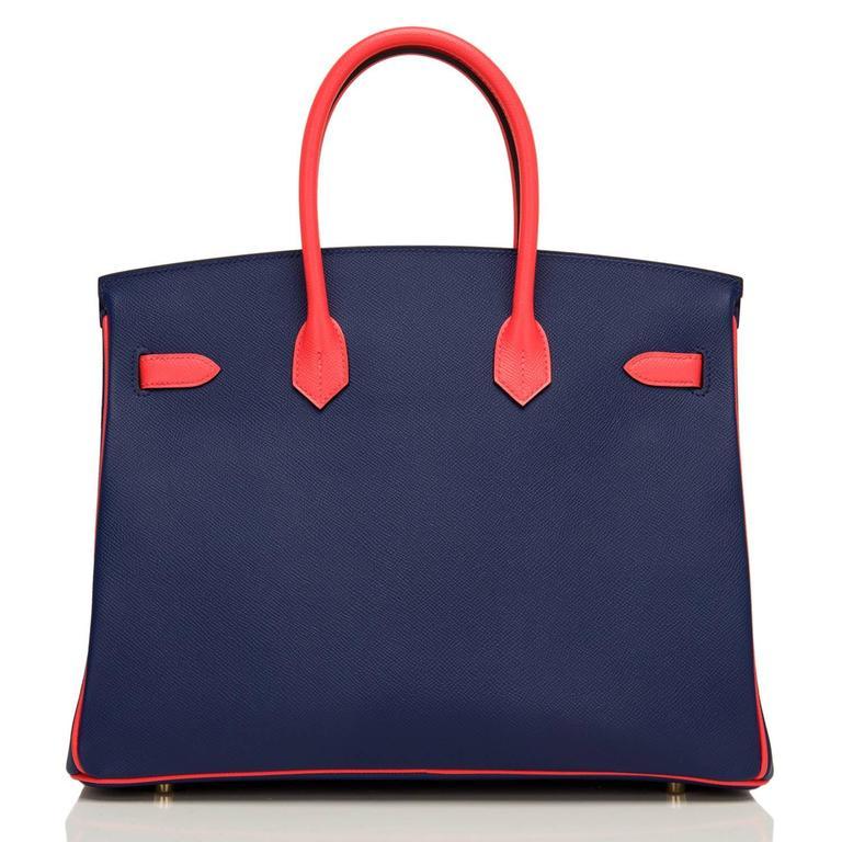 Women's Hermes HSS Bi-color Blue Sapphire And Rose Jaipur Epsom Birkin 35cm For Sale