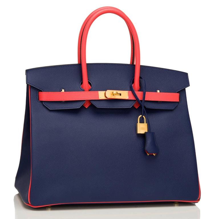 Hermes special order, horseshoe stamped (HSS) bi-color Birkin 35cm of Blue Sapphire and Rose Jaipur epsom leather with gold hardware.  This Birkin has tonal stitching, a front toggle closure, a clochette with lock and two keys, and double rolled