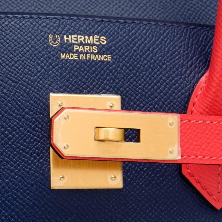 Hermes HSS Bi-color Blue Sapphire And Rose Jaipur Epsom Birkin 35cm For Sale 2