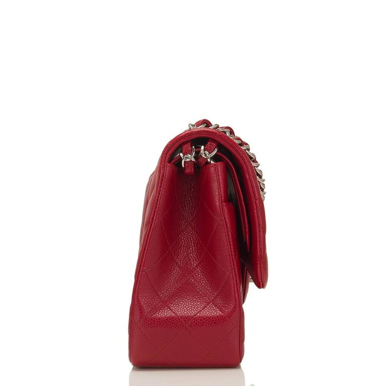 Chanel Red Quilted Caviar Jumbo Classic Double Flap Bag In New Never_worn Condition For Sale In New York, NY