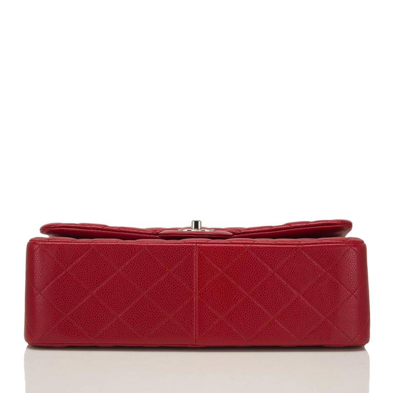 Chanel Red Quilted Caviar Jumbo Classic Double Flap Bag For Sale 1