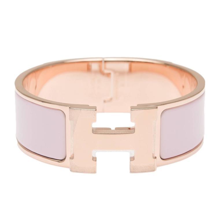 Hermes Rose Dragee Clic Clac H Wide Enamel Bracelet PM For Sale at 1stdibs bc8f0234c4c