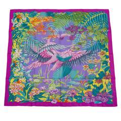 "Hermes ""Flamingo Party"" Silk Twill Scarf 90cm"
