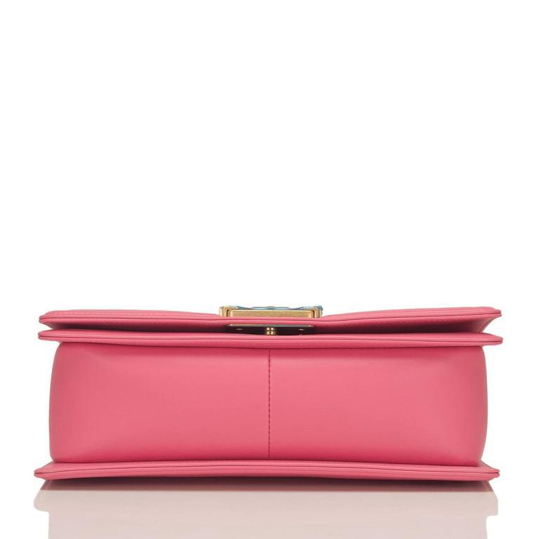 Chanel Pink Python Medium Boy Bag For Sale 2