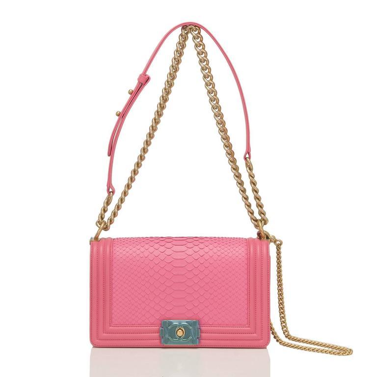 Chanel Pink Python Medium Boy Bag For Sale 3