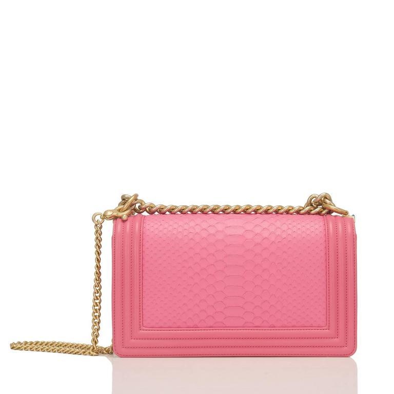 Women's Chanel Pink Python Medium Boy Bag For Sale