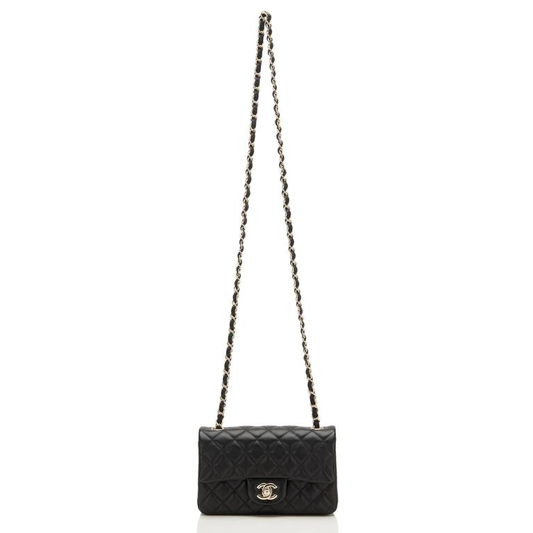 Chanel Black Quilted Lambskin Rectangular Mini Classic Flap Bag For Sale 2