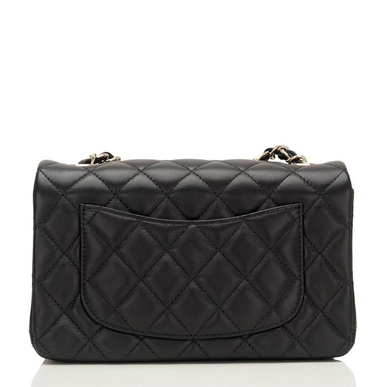 Women's Chanel Black Quilted Lambskin Rectangular Mini Classic Flap Bag For Sale