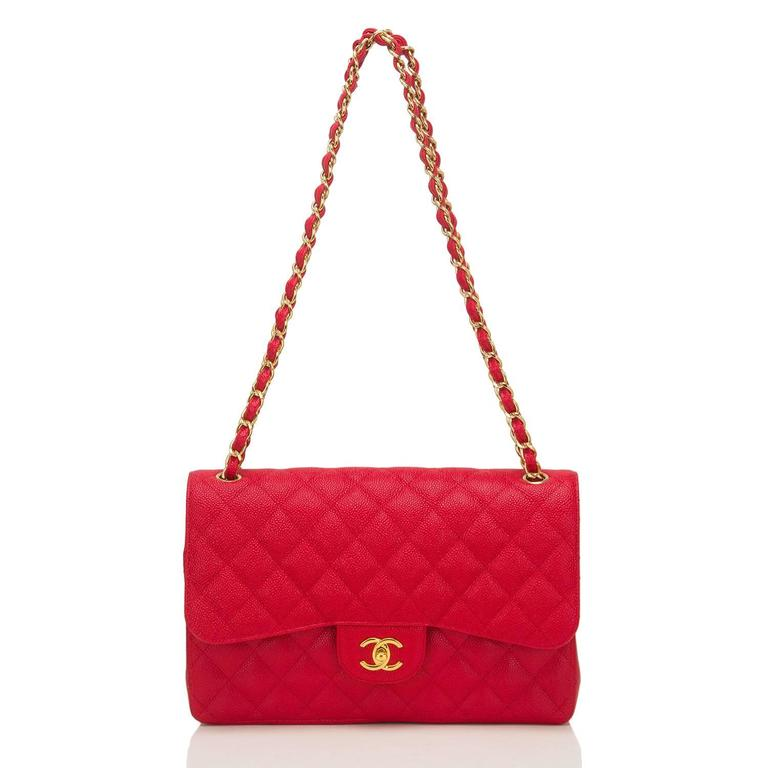 Chanel Red Quilted Caviar Jumbo Classic Double Flap Bag For Sale 2