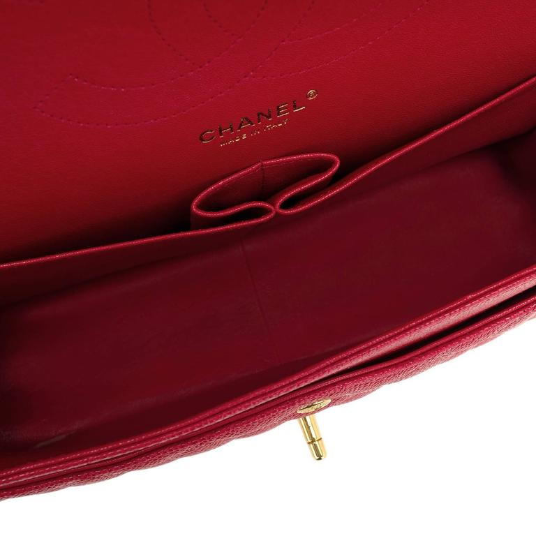 Chanel Red Quilted Caviar Jumbo Classic Double Flap Bag For Sale 3