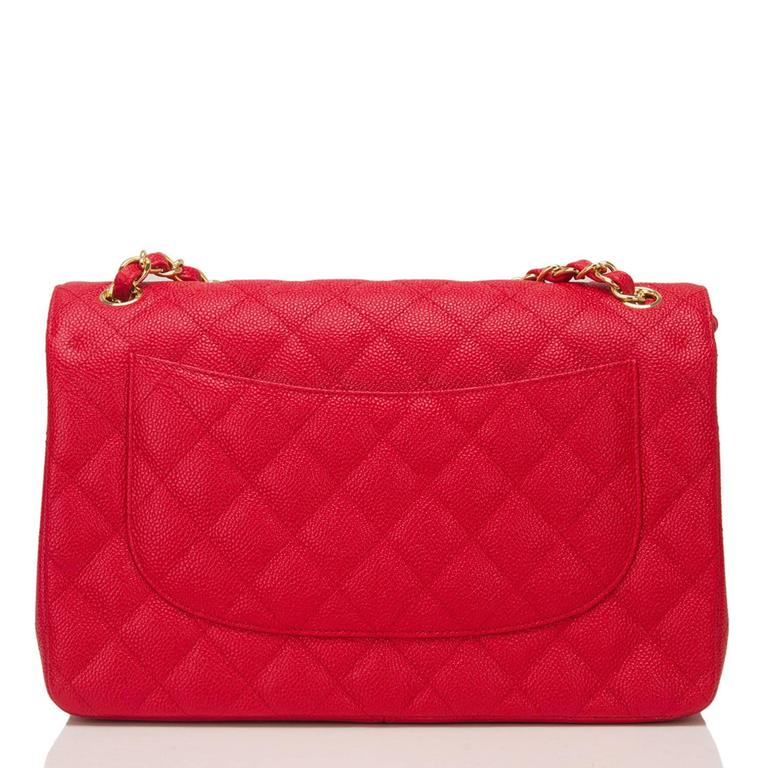 Women's Chanel Red Quilted Caviar Jumbo Classic Double Flap Bag For Sale