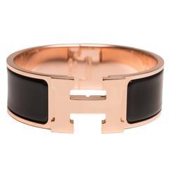 Hermes Black Clic Clac H Wide Enamel Bracelet PM