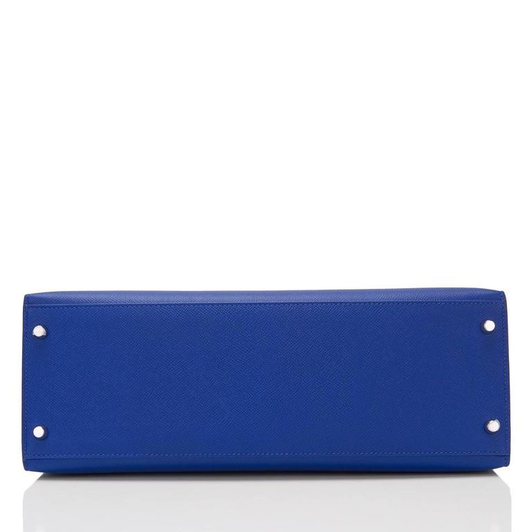 Hermes Blue Electric Epsom Sellier Kelly 35cm Palladium Hardware  For Sale 1